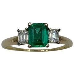 1 Carat Emerald Diamond Ring 14 Karat Gold Antique Engagement Wedding