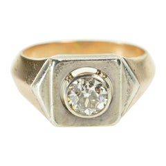 1 Carat European Cut Edwardian Diamond Gold Engagement Ring