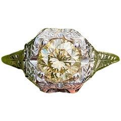 1 Carat Fancy Brown Diamond Vintage Art Deco Platinum Ring