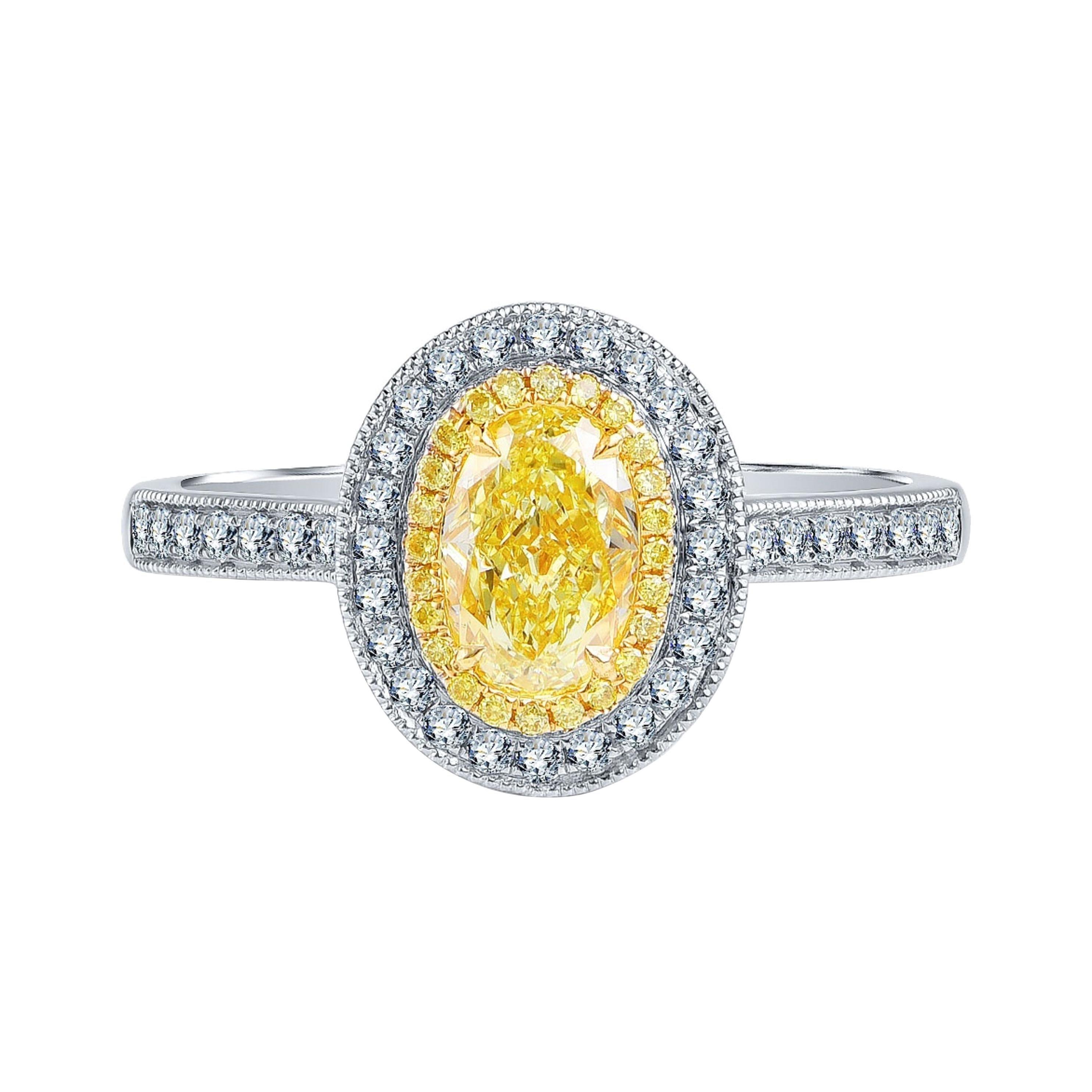 1 Carat Fancy Yellow Diamond Ring 18 Karat White Gold