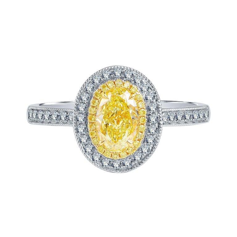 1 Carat Fancy Yellow Diamond Ring 18 Karat White Gold For Sale