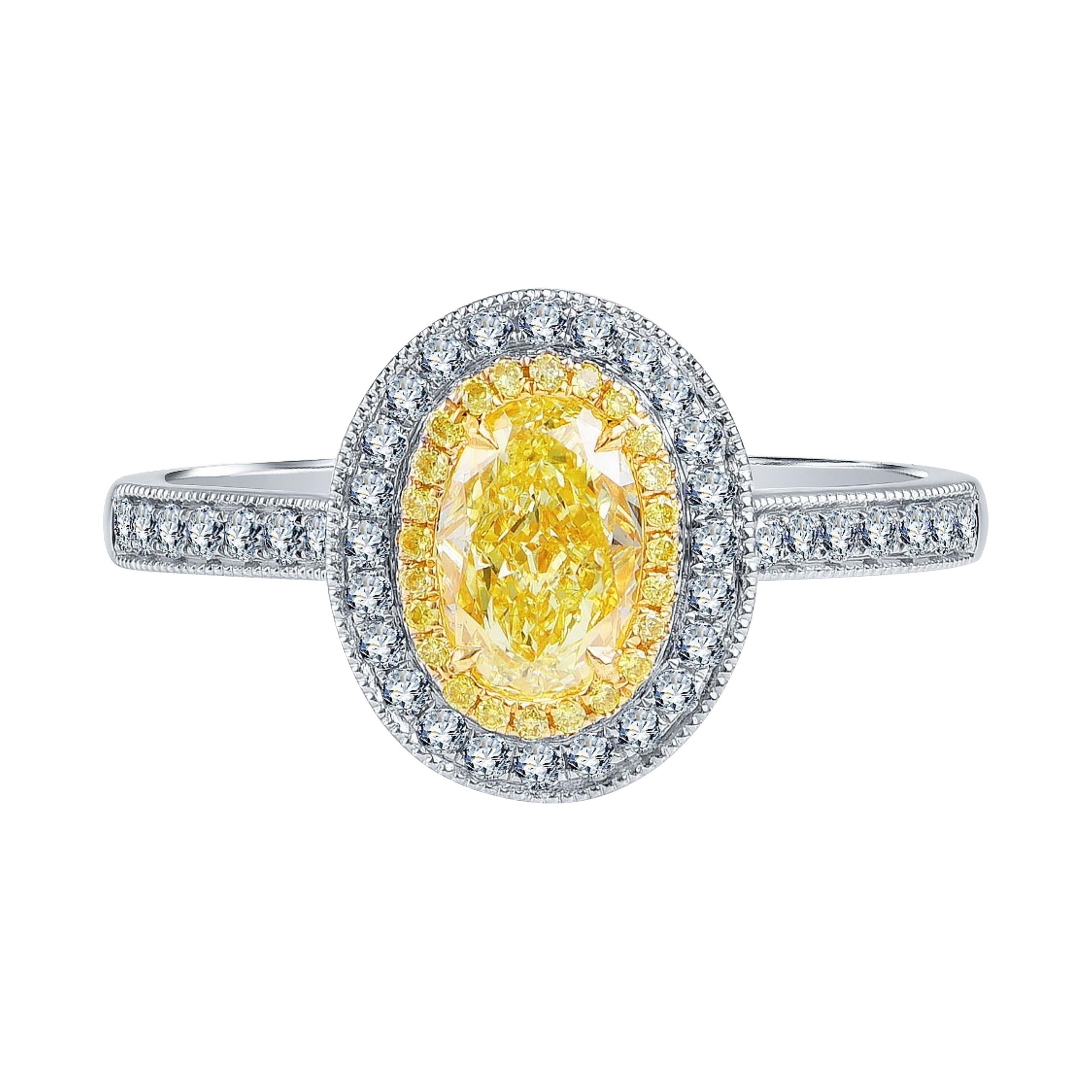 1 Carat Fancy Yellow Diamond Ring 18k White Gold