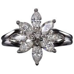 1 Carat Flower Motif Marquise Round Brilliant Cut Diamond Ring 18 Karat