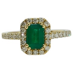 1 Carat Genuine Emerald and .50 Carat Diamond Halo Engagement Ring, Yellow Gold