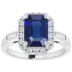 1 Carat Genuine Emerald-Cut Unheated Burma Sapphire and Diamond Halo Bridal Ring