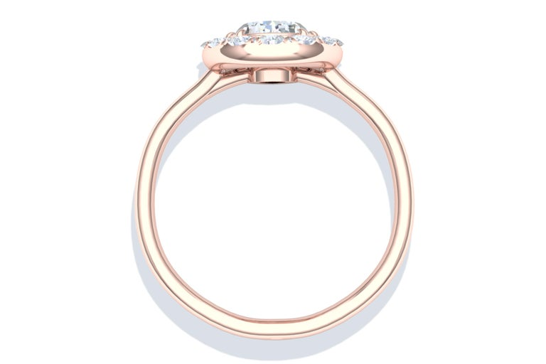 1 Carat GIA Certified Pear Shape Diamond Halo Rose Gold Engagement Ring In Excellent Condition For Sale In Aliso Viejo, CA