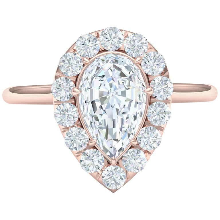 1 Carat GIA Certified Pear Shape Diamond Halo Rose Gold Engagement Ring For Sale