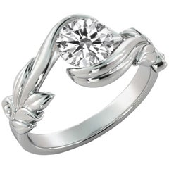 1 Carat GIA Diamond Engagement Ring, Leaf Setting Diamond White Gold Ring