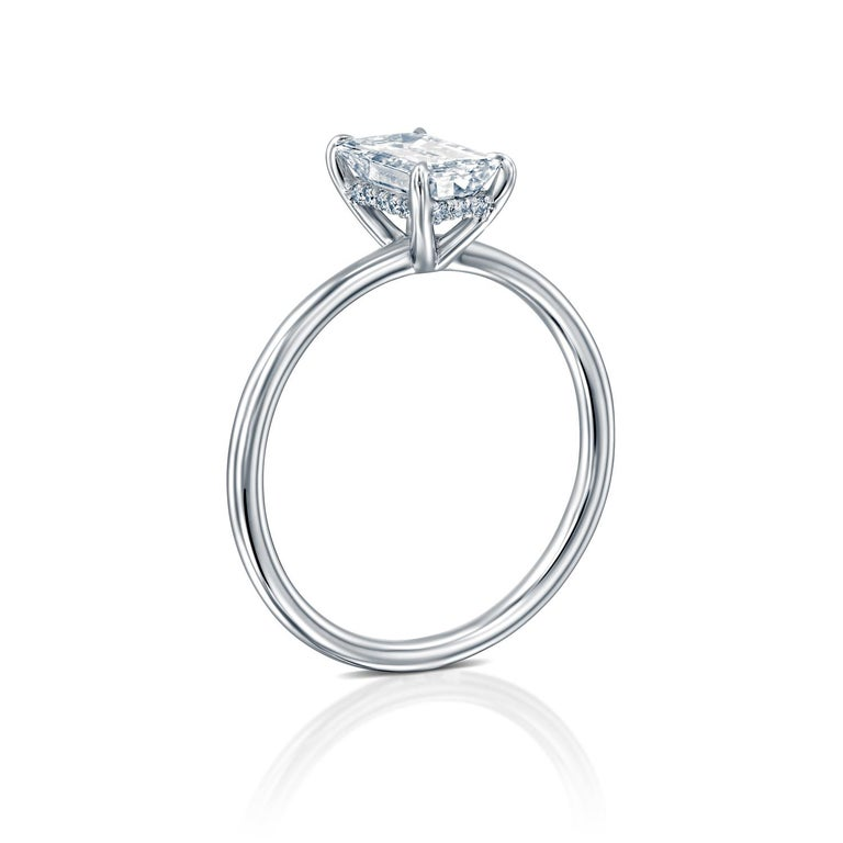 Art Deco 1 Carat GIA Diamond Ring, Solitaire Emerald Cut 18 Karat White Gold Ring For Sale