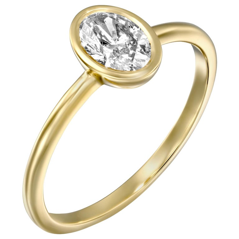 1 Carat GIA Diamond Engagement Ring, Solitaire Oval Bezel 18 Karat Gold Ring For Sale
