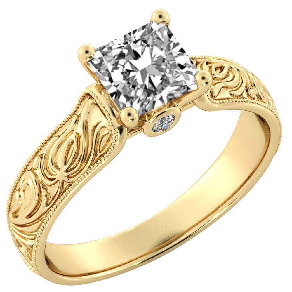 1 Carat GIA Princess Cut Diamond Engagement Ring, Hand Engraved Diamond Ring