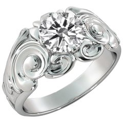 1 Carat GIA Round Diamond Engagement Ring, Delicate Floral Style Diamond Ring