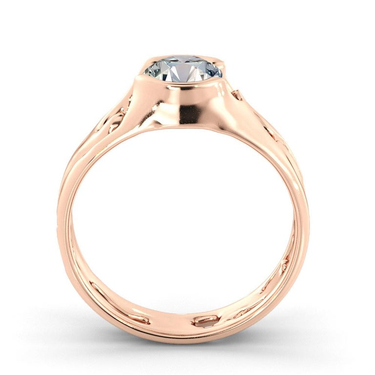 Round Cut 1 Carat GIA Round Diamond Engagement Ring, Solitaire Bezel 18 Karat Rose Gold For Sale