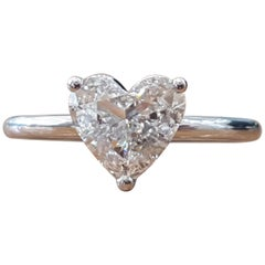 1 Carat Heart 14 Karat White Gold Diamond Engagement Ring