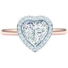 1 Carat Heart Diamond Halo .30 Carat Platinum Rose Gold Engagement Ring