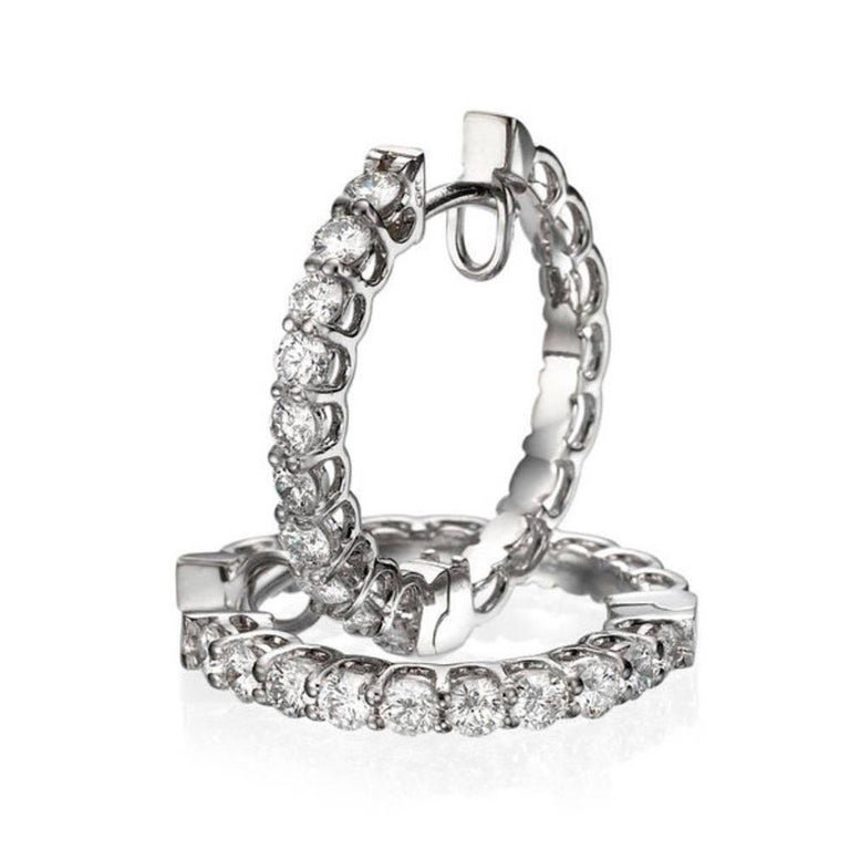 Art Deco 1 Carat Huggie Round Diamond Earrings, 18 Karat Gold Hoop Earrings For Sale