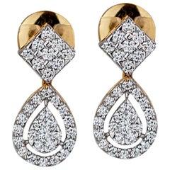 Deco, 1 Carat Ladies Dangle Yellow Gold VS Diamond Earrings