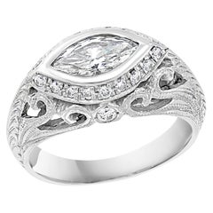 1 Carat Marquise Shape Center Diamond 14 Karat White Gold Ring, Art Deco