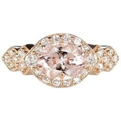 1 Carat Morganite, 0.37 Carat Diamond Ring, Rose Gold Engagement Oval Halo