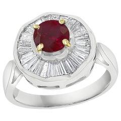 1 Carat Natural Burma Ruby and Baguette Diamond 18 Karat White Gold Ring