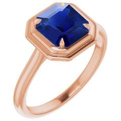 1 Carat Natural Burma Sapphire 'No Heat' 18 Karat Rose Gold Ring