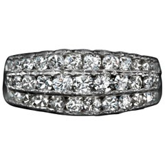 1 Carat Natural Diamond Cocktail Ring Pave 3-Row Band Ring