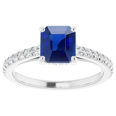 1 Carat Natural No Heat Burma Sapphire and Diamond Platinum Engagement Ring