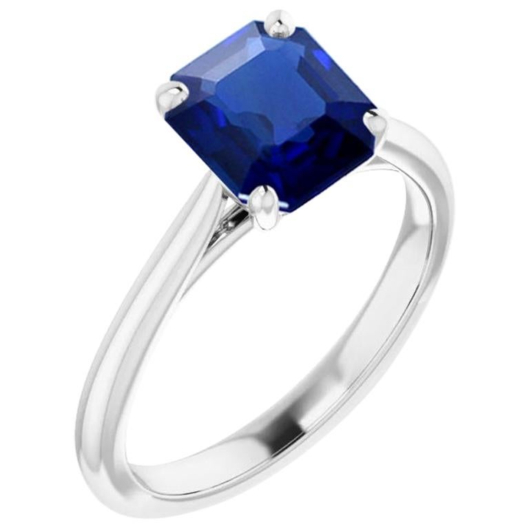 1.13 Carat Natural No Heat Burma Sapphire Platinum Solitaire Engagement Ring