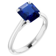 1 Carat Natural No Heat Burma Sapphire Platinum Solitaire Engagement Ring