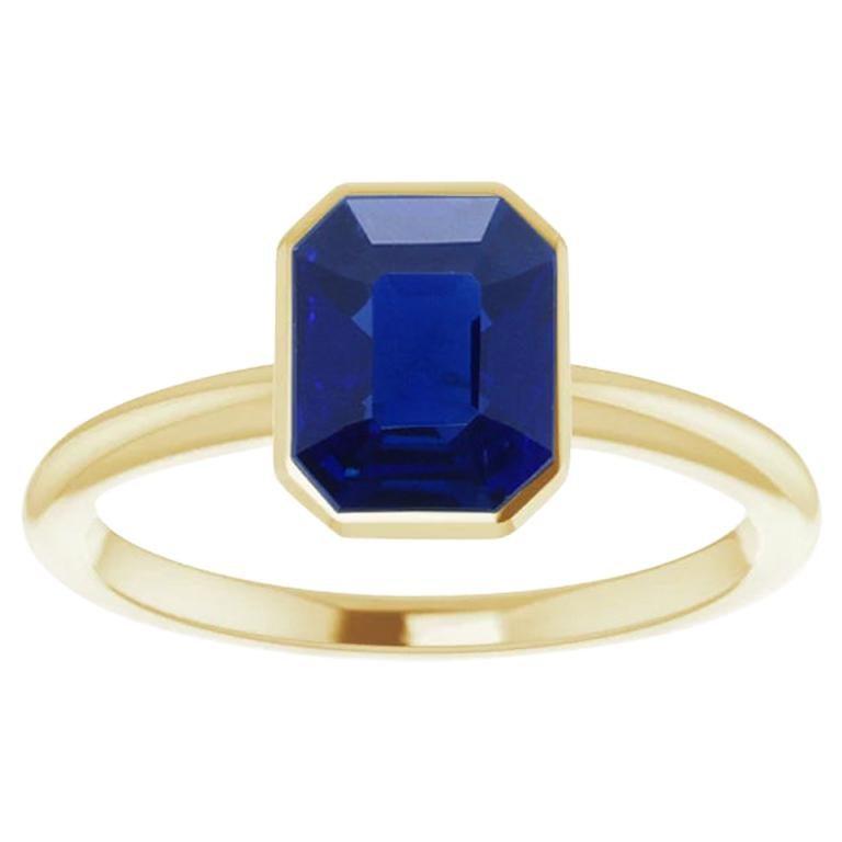 1.30 Carat No-Heat Emerald-Cut Burma Sapphire Bezel-Set Solitaire Gold Ring