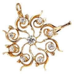 1 Carat Natural Round Diamonds Medusa Sunburst Rotary Pendant Brooch 14 Karat