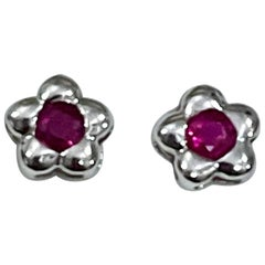1 Carat Natural Round Ruby Stud Earrings 14 Karat White Gold, Post Back