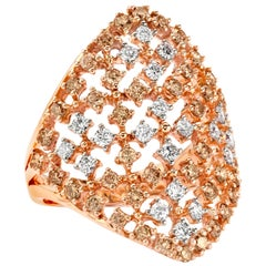 Champagne and White Diamond on Lace Rose Gold
