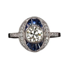 Old European Cut Diamond Engagement Ring Sapphire Vintage Art Deco
