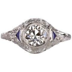 1 Carat Old European Cut GIA Sapphire 18 Carat White Gold Ring