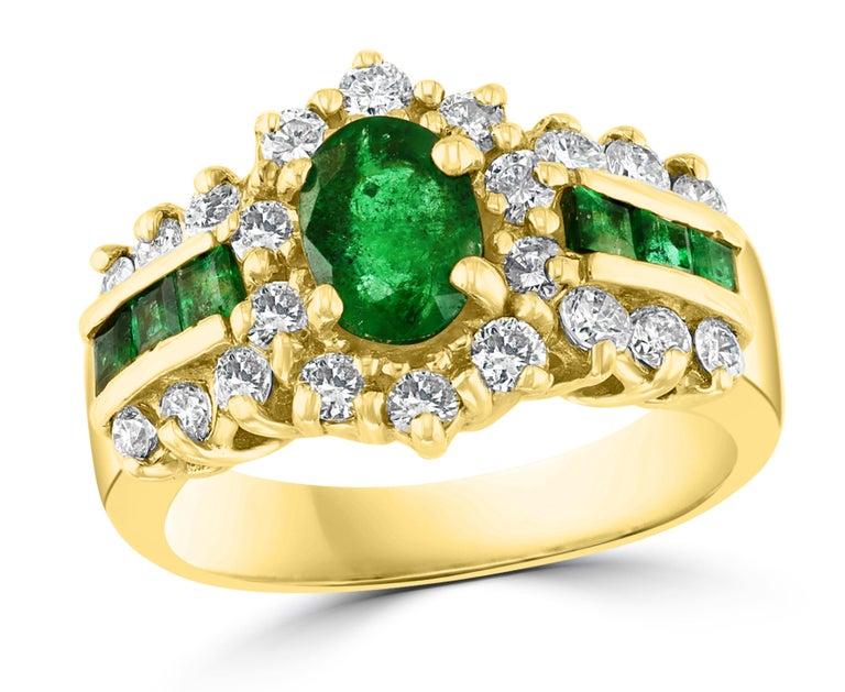 1 Carat Oval Cut Emerald and 1.0 Carat Diamond Ring 18 Karat Yellow Gold For Sale 10
