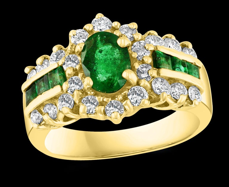 1.0 Carat Oval Cut  Emerald & 1.0 Carat Diamond Ring 18 K Yellow Gold Size 6.5 Oval Emerald Ring  Emeralds are very precious , Very Difficult to find and getting more more difficult to find. A classic, Cocktail ring   18k Gold 7.2gram  Diamonds: