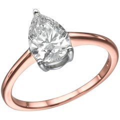 1 Carat Pear Shape Diamond Ring, 18 Karat Rose Gold Solitaire Engagement Ring