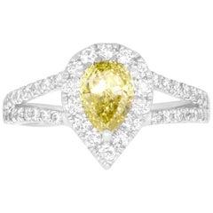 1 Carat Pear Yellow Diamond Ring