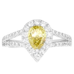 1 Carat Pear Yellow Diamond Ring