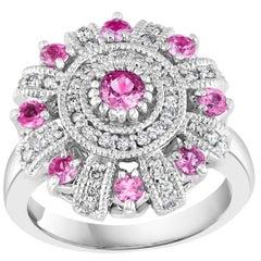 1 Carat Pink Sapphire and 0.5 Carat Diamond 14 Karat White Gold Ring, Estate