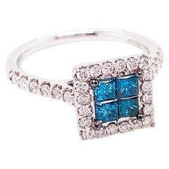 1 Carat Princess Cut Blue Diamond and Diamond Halo Ring 14 Karat White Gold