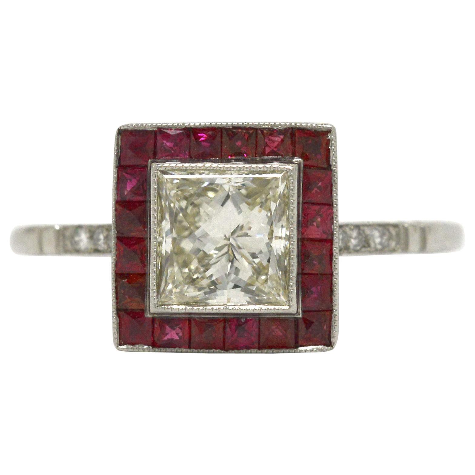 1 Carat Princess Cut Diamond Ruby Halo Art Deco Style Platinum Engagement Ring