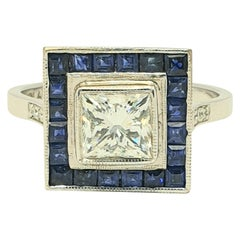 1 Carat Princess Cut Diamond Sapphire Bespoke Platinum Ring