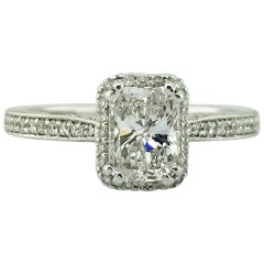 1.00 Carat Radiant Diamond Custom Diamond Halo Engagement Ring in 19K White Gold