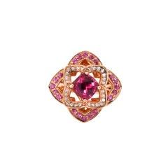 1 Carat Rhodolite and Diamond Ring in 14 Karat Rose Gold