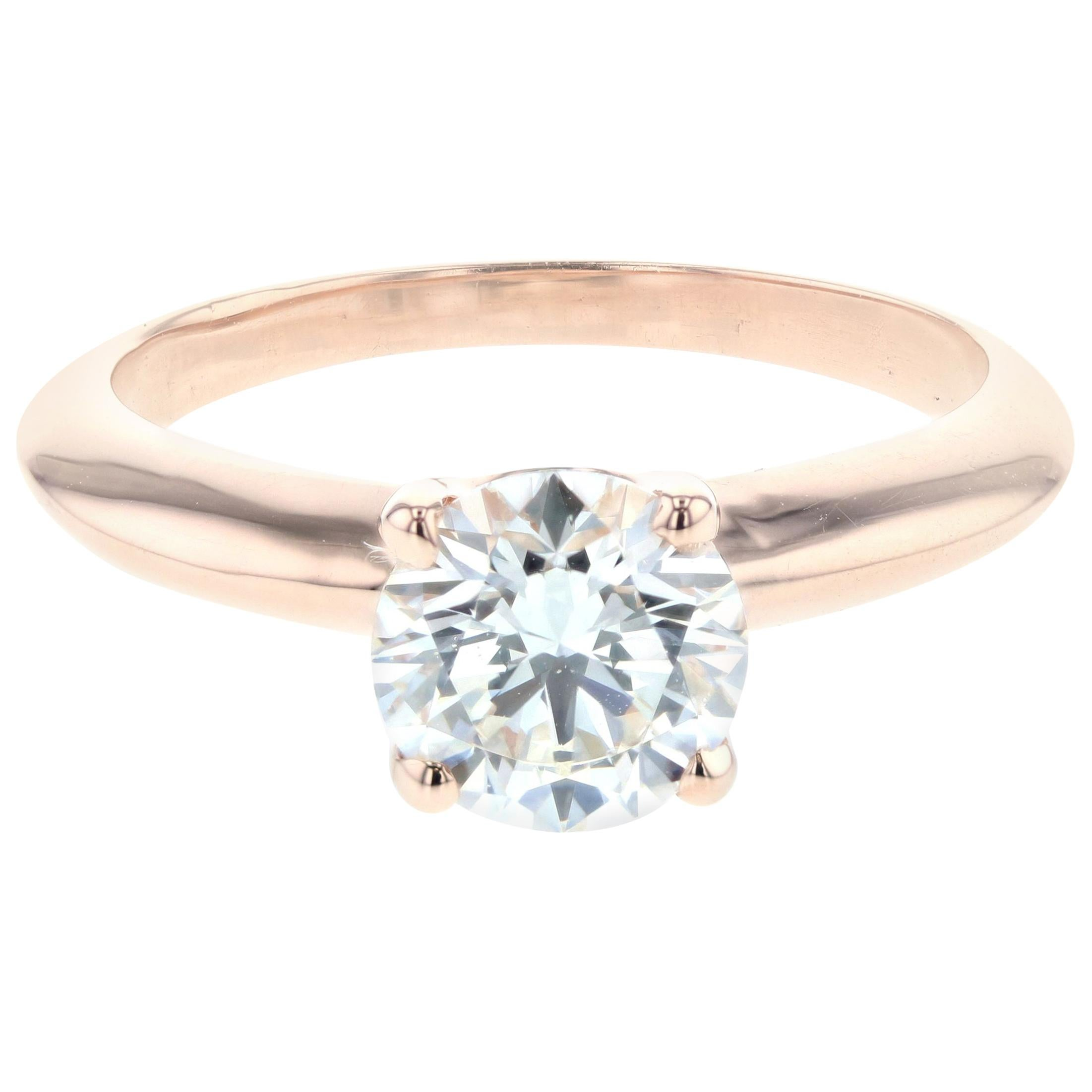 1 Carat Rose Gold Solitaire Diamond Engagement Ring 'Certified'