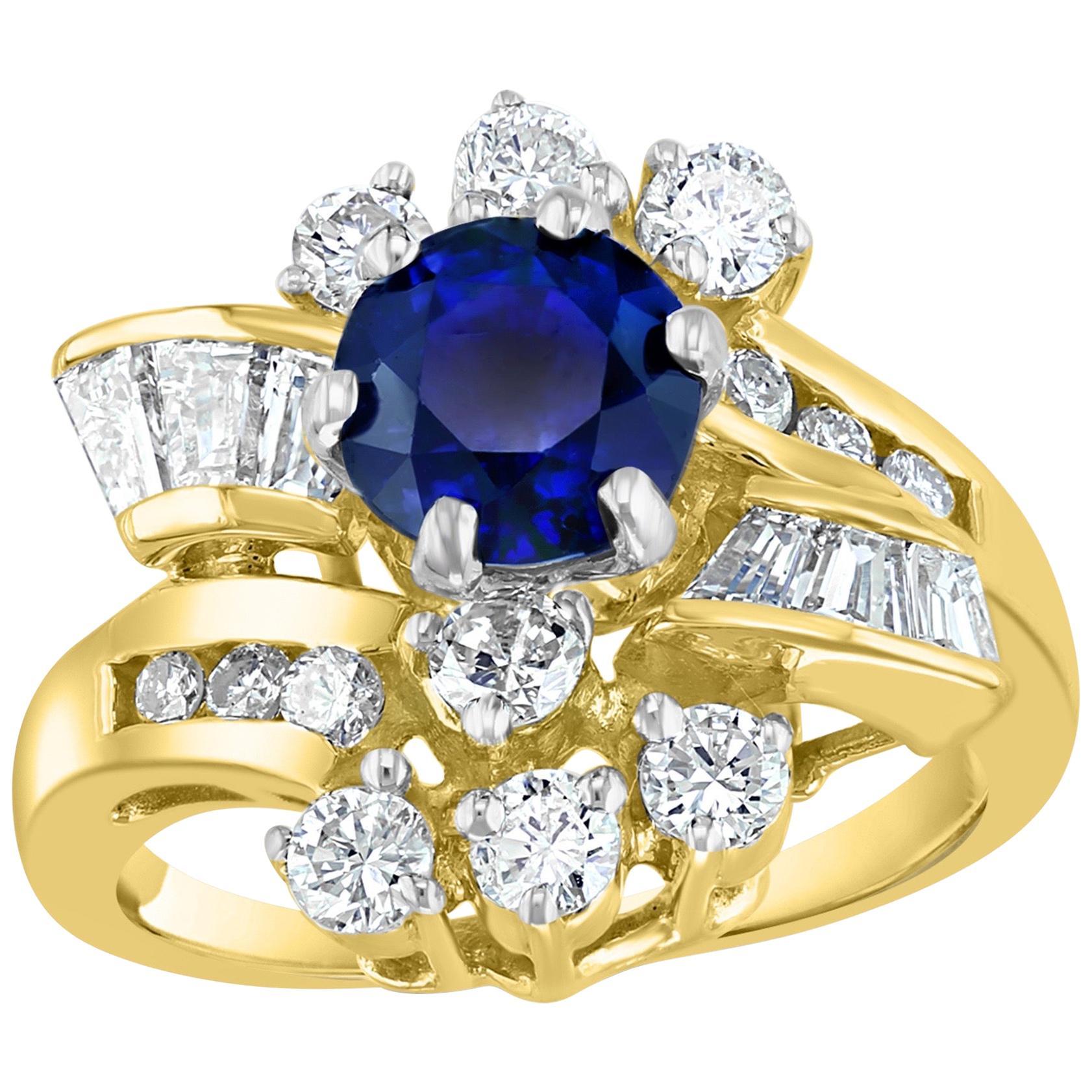 1 Carat Round Blue Sapphire & 1.65 Carat Diamond Cocktail Ring in 14 Karat Gold