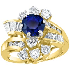 1 Carat Round Blue Sapphire & 1.65 Carat Diamond Cocktail Ring in 14 Karat Gold