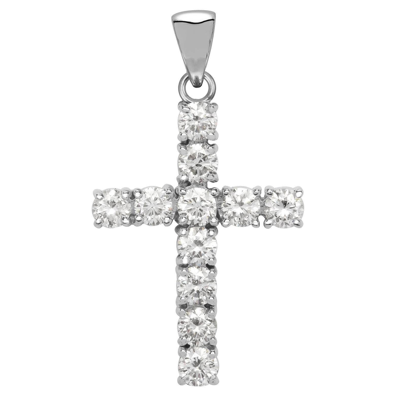 1 Carat Round Brilliant Cut Diamond 18 Karat White Gold Classic Cross Pendant